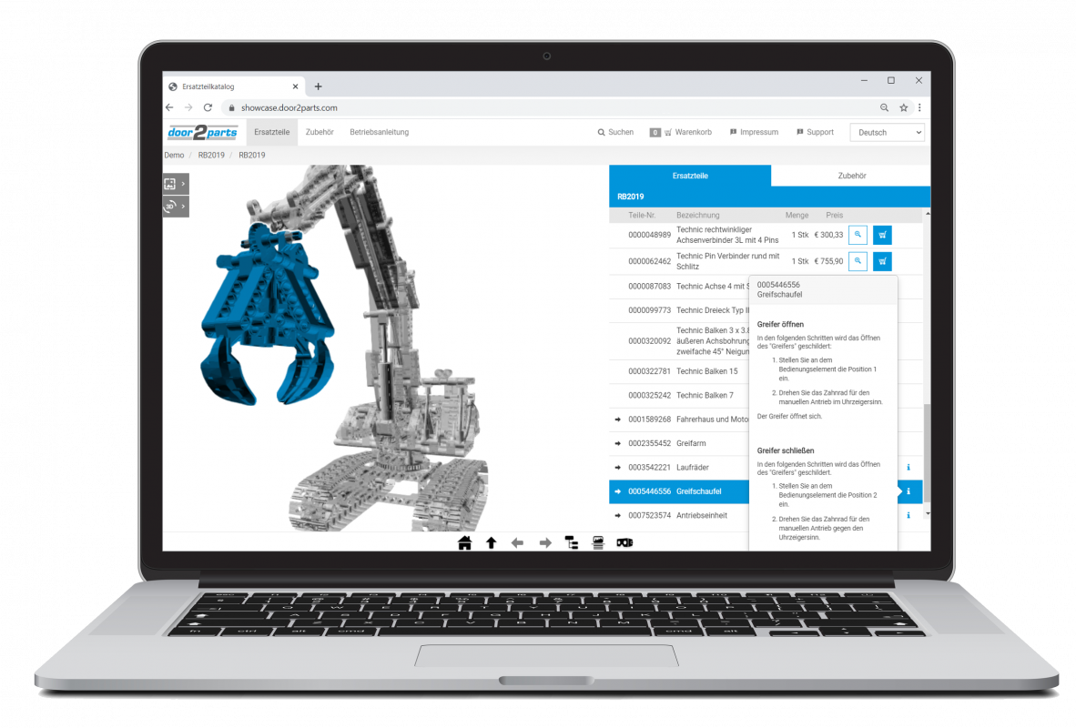 parts catalog software solution based on interactive 3D models for even more precise parts identification